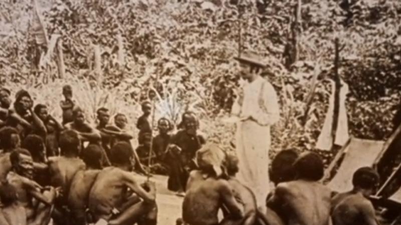 Zendeling in Congo op zendingsveld