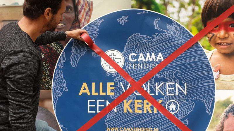 Zendingsorganisatie met logo CAMA Zending rood kruis er door